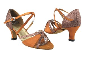 "1740 236 Dark Tan Satin_F_S_H_212 Copper Stardust_T_B with 2.5"" Heel in the photo"