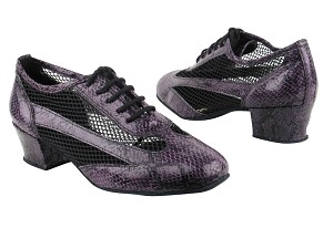 "2009 252 Purple Snake_Black Mesh with 1.5"" medium heel in the photo"