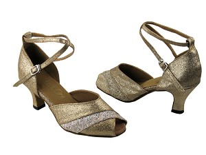 "2701 Gold Stardust & 142 Glitter Satin with 2.5"" Low Heel in the photo"