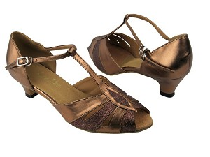 "2702 212 Copper Stardust_171 Dark Tan Gold PU with 1.3"" Cuban heel in the photo"