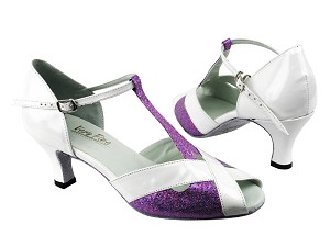 "2703 190 Purple Scale_White Patent Trim with 2.5"" low heel in the photo"