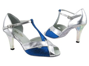 "2703 Blue Stardust_119 Silver PU with 3"" Square Transparent Heel in the photo"