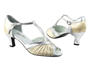 "2707 103 Flesh Flower Satin_119 Silver Trim with 2.5"" low heel in the photo"