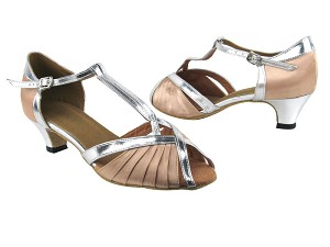 "2707 136 Light Brown Satin_Silver Leather Trim with 1.3"" Heel in the photo"