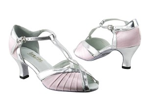 "2707 233 Light Pink Satin_55 Silver PU Trim with 2.5"" low heel in the photo"