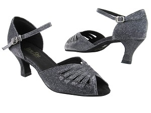 "2709 105 Glitter Black Satin with 2.5"" Heel in the photo"
