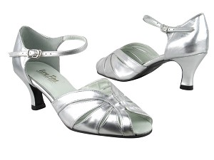 "2713 119 Silver Leather_1616 BackStrap with 2.5"" Heel in the photo"