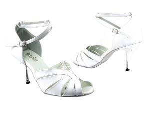 "2713 White Leather with 3"" Slim Silver Plated Heel in the photo"