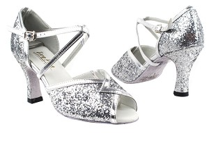 "2721 7 Silver Sparkle_Silver Leather Trim with 3"" Heel in the photo"