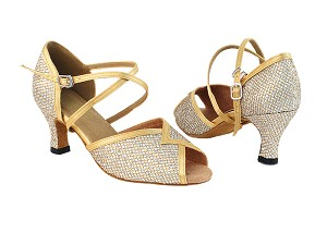 "2721 74 Gold Sparklenet_80 Gold Satin Trim with 2.5"" Heel in the photo"