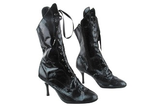 "3301Boot 222 Snake Black with 3"" Slim Black Plated Heel in the photo"