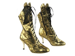 "3301Boot 251 Gold Snake with 3"" Slim Gold Plated Heel in the photo"