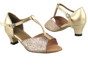 "5004G 125 Gold Stardust_57 Light Gold Leather with 1.3"" Heel in the photo"