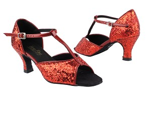 "5004G Red Sparkle_W_Red Patent_S with 2.5"" Heel in the photo"