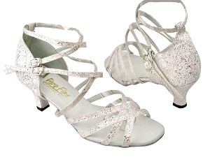 "5008 194 Lace White Stardust with 2.5"" Low heel in the photo"