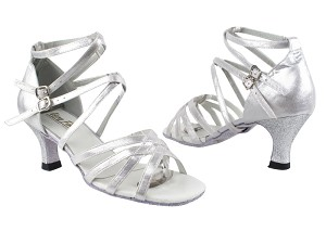 "5008 259 Silver Satin_126 Silver Stardust Heel with 2.5"" Heel in the photo"