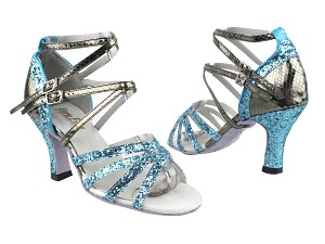 "5008Mirage 188 Light Blue Sparkle_H_224 Snake Grey with 3"" Heel in the photo"