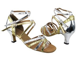 "5008Mirage Gold _Silver Sparkle_Leather with 2.5"" Low heel in the photo"