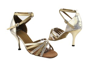 "6005 180 White Gold Wave_B_57 Light Gold Leather_S with 3"" Slim Gold Plated Heel in the photo"