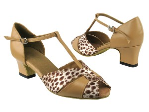 "6006 157 Beige Brown Leather_164 Babylon Shell with 2"" Thick Cuban heel in the photo"