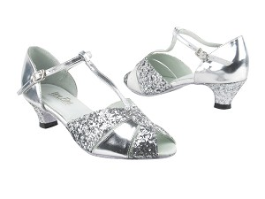 "6006 Silver Leather_7 Silver Sparkle_X_H with 1.3"" Cuban heel in the photo"