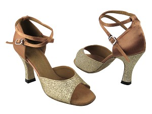 "6012 #125 Gold Stardust (H) & #81 Brown Satin with 3"" Heel in the photo"