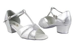 "6016 119 Silver Leather with 1.5"" Medium Heel in the photo"