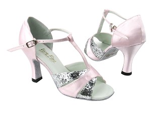 "6016 7 Silver Sparkle_233 Light Pink Satin with 3"" heel in the photo"
