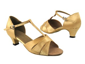 "6016 80 Light Gold Satin with 1.3"" Cuban heel in the photo"