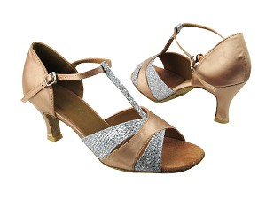 "6016 Silver Sparklenet_Light Brown Satin with 2.5"" low heel in the photo"