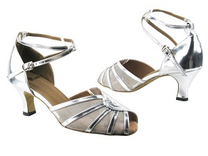 "6018 55 Silver Leather_Silver Mesh with 2.5"" low heel in the photo"