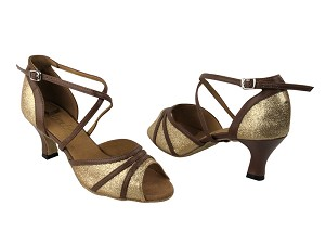 "6023 Gold Stardust & Coffee Brown Trim with 2.5"" Low Heel in the photo"
