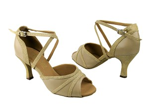 "6023 Tan Leather & 106 Gold with 2.75"" Low Heel in the photo"