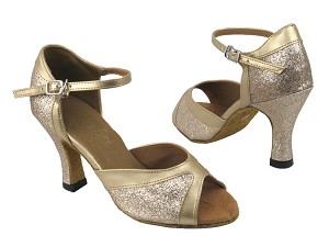 "6024 125 Gold Stardust_H_57 Light Gold Leather Trim with 3"" heel in the photo"