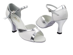 "6024 139 White PU_55 Silver PU Trim with 3"" Heel in the photo"