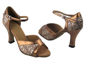 "6024 217 Copper Sparkle & 171 Dark Tan Gold with 3"" Heel in the photo"