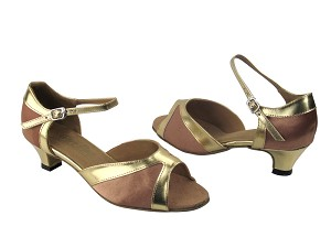 "6024 81 Brown Satin & Gold Leather Trim with 1.3"" Heel in the photo"