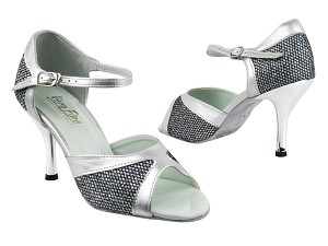 "6024 97 Black Spaklenet_151 Soft Silver PU Trim with 3"" Slim Silver Plated Heel in the photo"