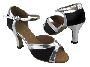 "6024 Black Satin_Silver Leather Trim with 3"" heel in the photo"