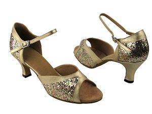 "6024 Rainbow Sparkle & Light Gold Leather Trim with 2.5"" Low Heel in the photo"