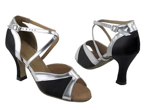 "6024F Black Satin & Silver Trim & 6023 Back with 3"" Heel in the photo"