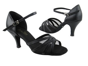"6027 Black Leather_Black Mesh_2_6in Slim Heel with 2.6"" heel in the photo"