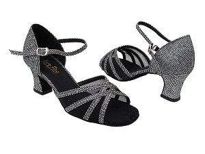 "6027 Black Sparklenet with 2.2"" Thick Cuban Heel in the photo"