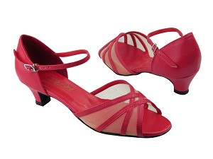 "6027 Red Leather_Flesh Mesh with 1.3"" Cuban heel in the photo"