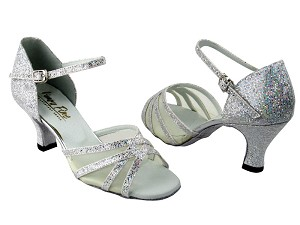 "6027 Silver Scale & Flesh Mesh with 2.5"" Low Heel in the photo"