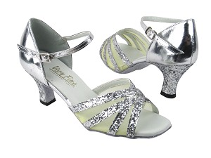 "6027 Silver Sparkle_H_Silver Leather_Flesh Mesh with 2.5"" low heel in the photo"
