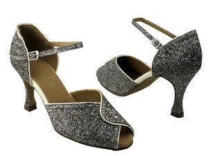 "6028 101 Sparklenet & 15 Creamy White Leather Trim with 3.5"" Heel in the photo"