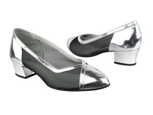 "6815 55 Silver Leather_Black Mesh with 1.5"" Heel in the photo"