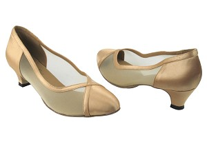 "6815 80 Light Gold Satin & Flesh Mesh with 1.3"" Heel in the photo"