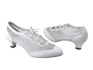 "6823 White Leather & 177 White Mesh with 1.3"" Heel in the photo"
